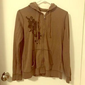 Brown floral zip up hoodie